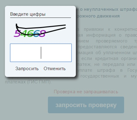 Подача запроса на проверку штрафа