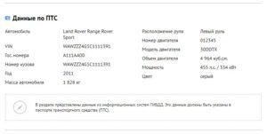 Данные по паспорту технического средства